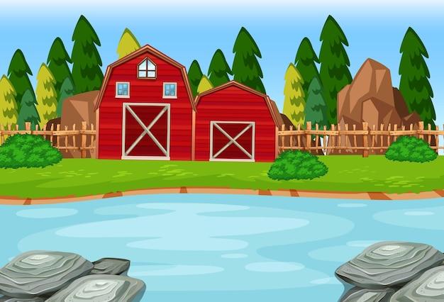 自然のシーンで2つの赤い納屋