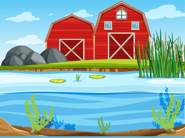 Two red barns in the nature scene