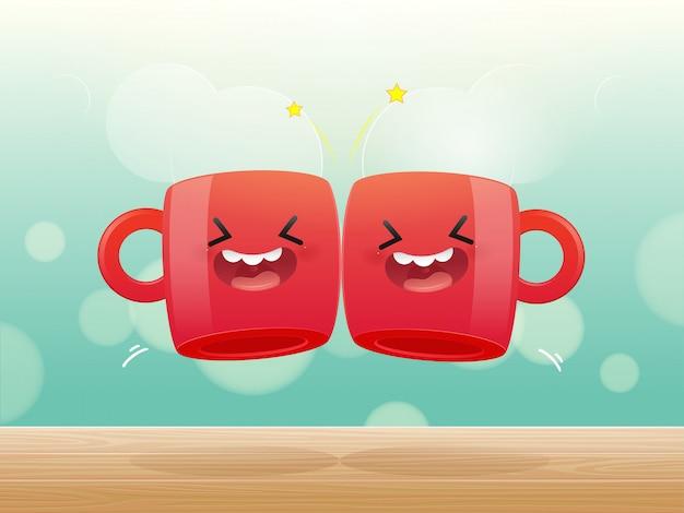Two red cups of drink clicking