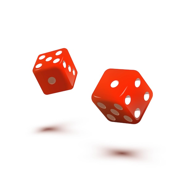 Two red dice cubes for gambling falling