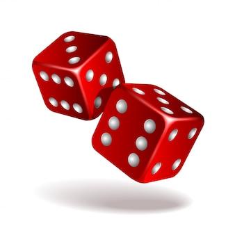2 красных падая кости на белизне. казино, азартные игры шаблон концепции. иллюстрация