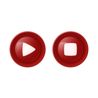 Two red glossy buttons