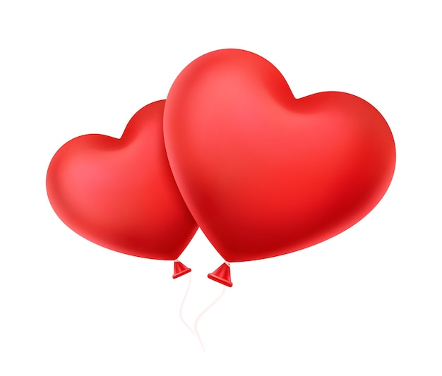 풍선 모양의 두 개의 빨간색 하트