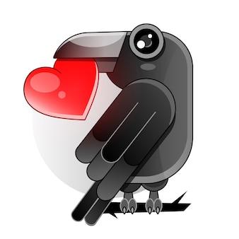 黒いカラスの羽を持つ2つの赤いハート。白い背景の上のストックイラスト。