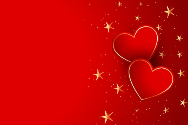 Two red hearts with golden stars background