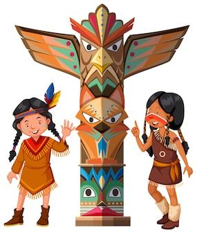 Два красных индейца и тотемный столб