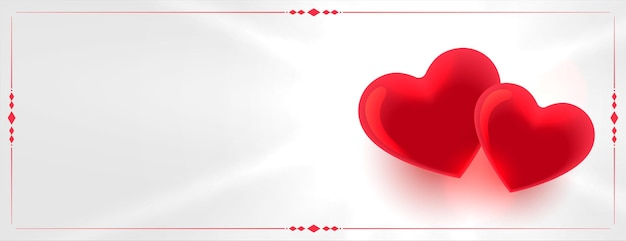 Two red love hearts with text space