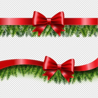 Two red ribbon and fir tree transparent background