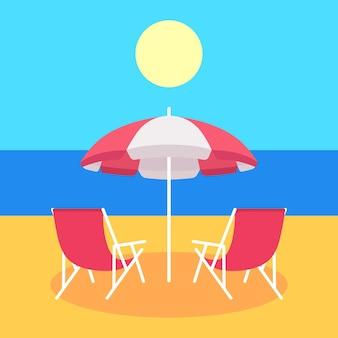 Два красных летних шезлонга и красный пляжный зонт. векторная иллюстрация.