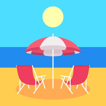 Two red summer beach chair and red beach umbrella. vector illustration.