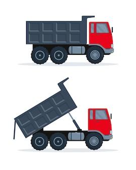 흰색 바탕에 닫힌 몸체와 열린 몸체가 있는 두 개의 빨간색 회색 덤프 트럭