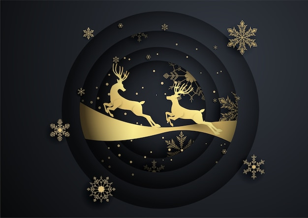 Two reindeer jump in circle with gold snowflake,merry christmas ,happy new year