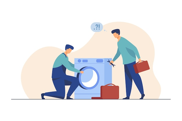 Two repairmen fixing washing machine. handymen, mentor and intern with tools flat illustration