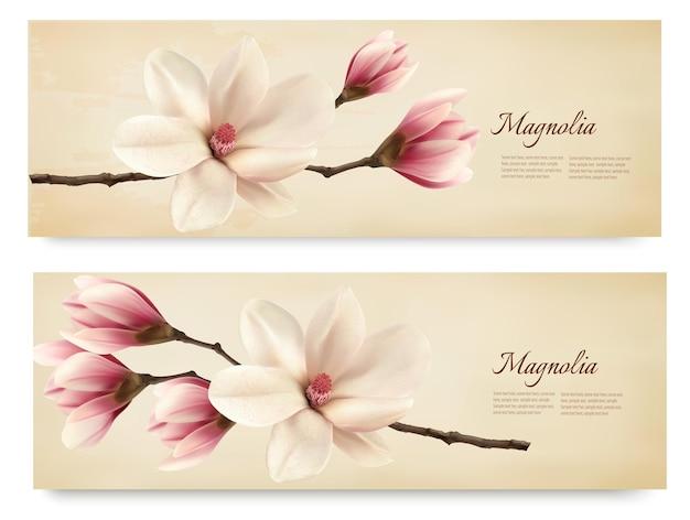 Два ретро красивых баннера магнолии.