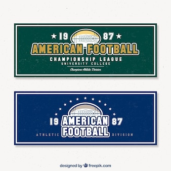 Two retro football banners
