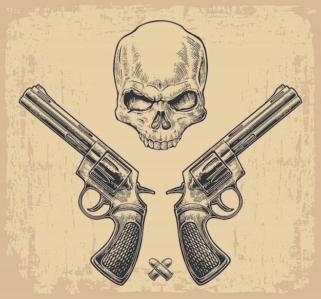 Two revolver with bullets and skull.