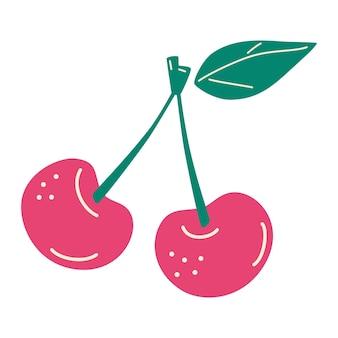 2つの熟したサクランボ。ピンクの桜のアイコン。新鮮な果物、天然のベリー。ベクトル漫画イラスト。