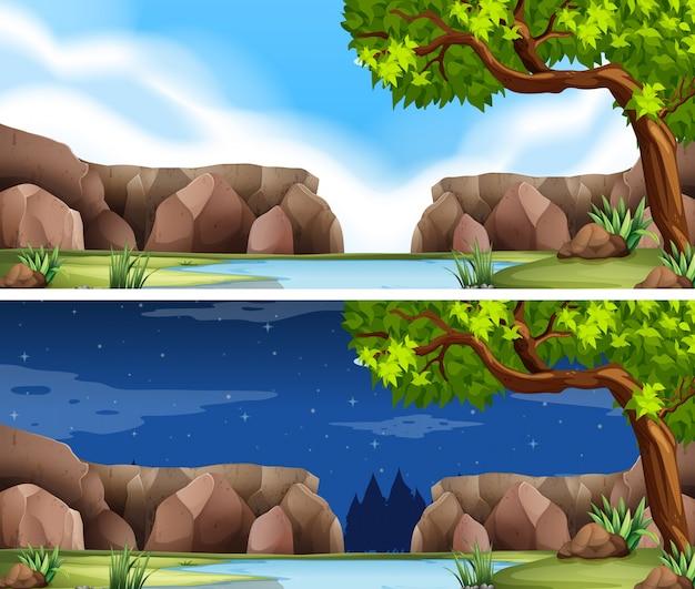 昼と夜の2つの川の風景