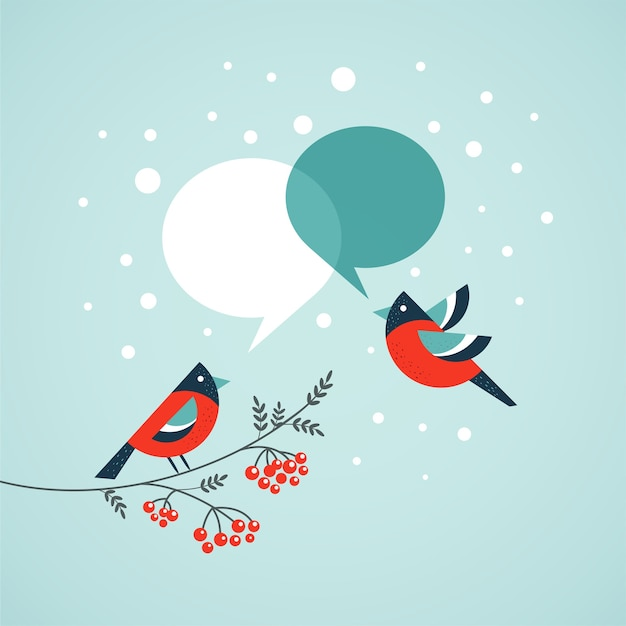 Two robins with speech bubbles -  template for merry christmas greeting card, banner or poster