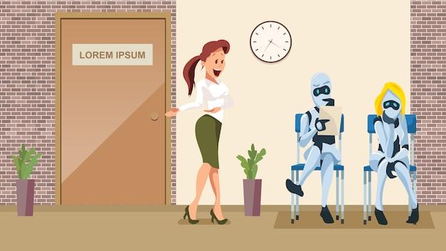 Two robot wait job interview in office corridor