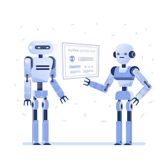 Two robots examine virtual hud interface.