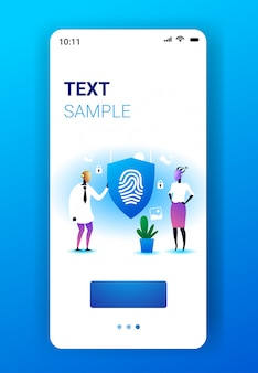 Two robots holding shield with fingerprint guard privacy data protection security artificial intelligence technology concept mobile app smartphone screen vertical full length copy space