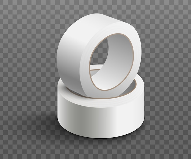 Two rolls of white adhesive tape stacked together - realistic