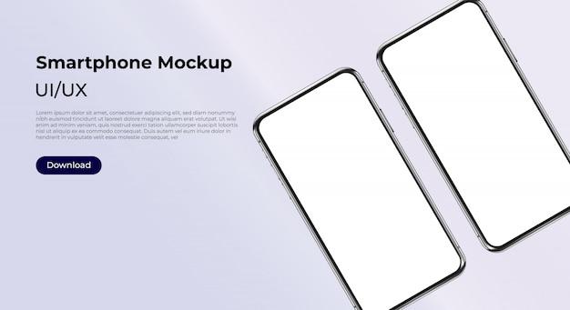 ユーザーインターフェイス、ユーザーエクスペリエンスプレゼンテーション用の2つの回転した携帯電話のモックアップ。スマートフォンテンプレート。