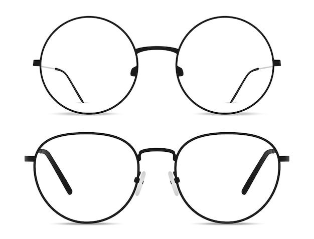 黒のハンドルが付いた2つの丸いメガネ