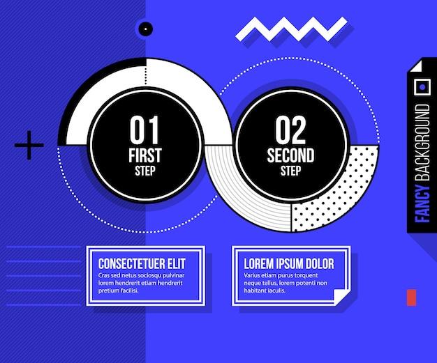 밝은 파란색 배경에 두 개의 라운드 옵션