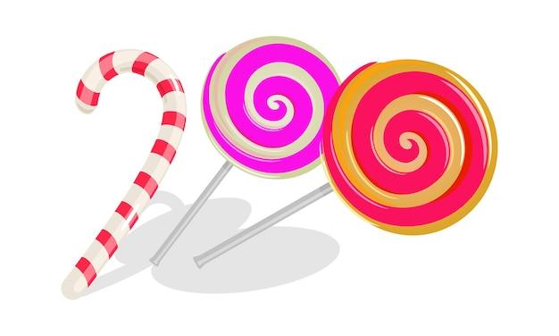 두 개의 둥근 소용돌이 막대 사탕과 빨간색 줄무늬가있는 흰색 사탕 지팡이.