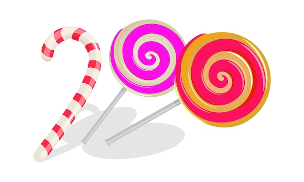 Two round swirl lollipops and white with red stripes candy cane.