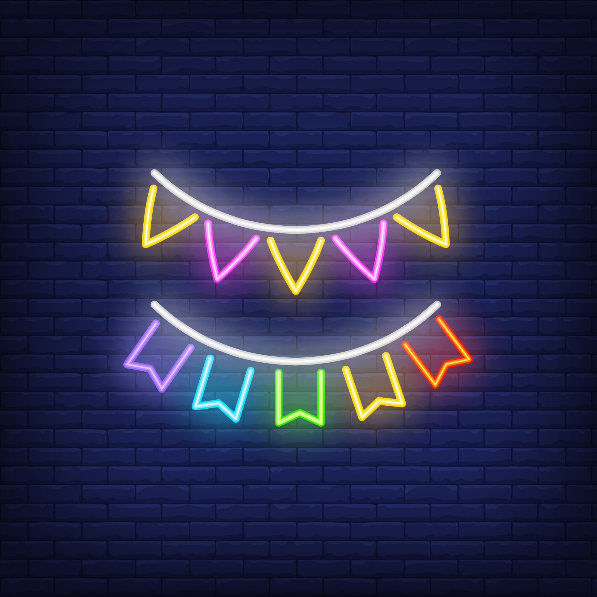 Two rows of multicolored buntings on brick background. Neon style sign.