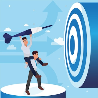 Due uomo aziendale triste cercando di raggiungere il successo, il successo della leadership e il concetto di progresso di carriera, illustrazione piatta, uomo d'affari.