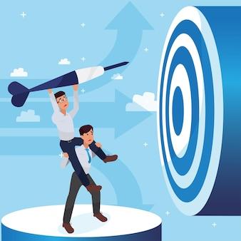 成功、リーダーシップの成功とキャリアの進歩の概念、フラットなイラスト、ビジネスマンを達成しようとしている2人の悲しい企業人。