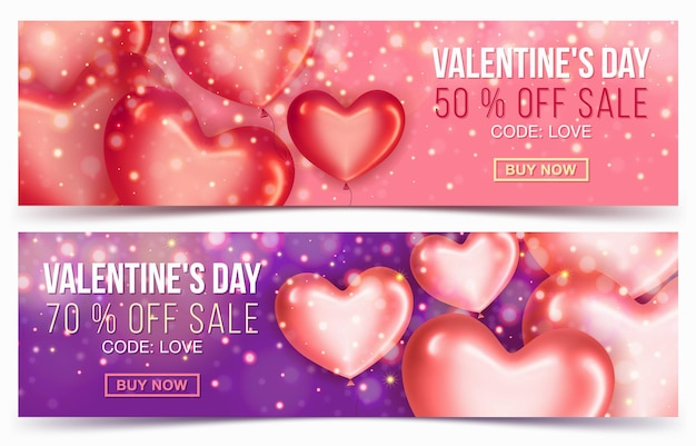 Two sale header or banner with discount offer for happy valentine's day celebration
