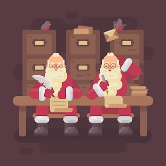 Two santa clauses writing letters to kids
