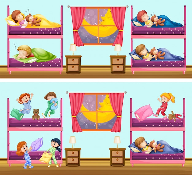 Two scenes of children in bedrooms