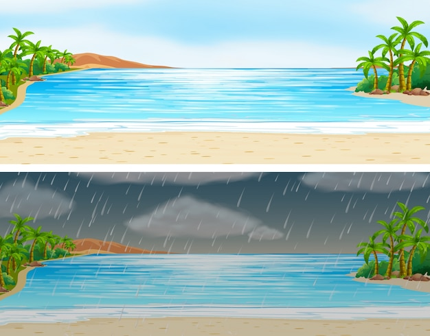 Two scenes of ocean on sunny and rainy days Free Vector