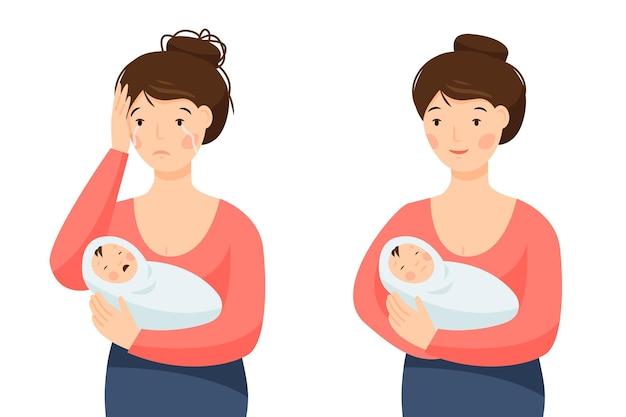 행복하고 우울한 어머니가 아이를 품에 안고 있는 두 장면