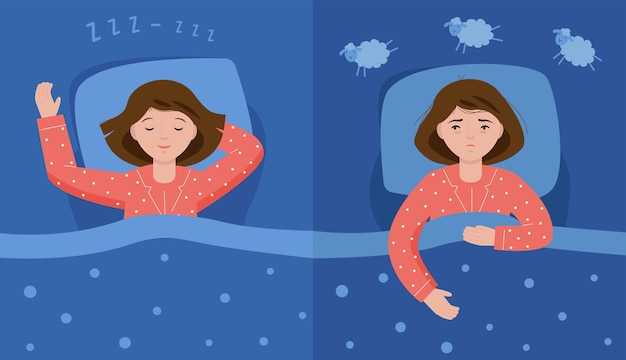 Two scenes with normal sleep and insomnia a girl in pink pajamas lies in bed and cannot sleep