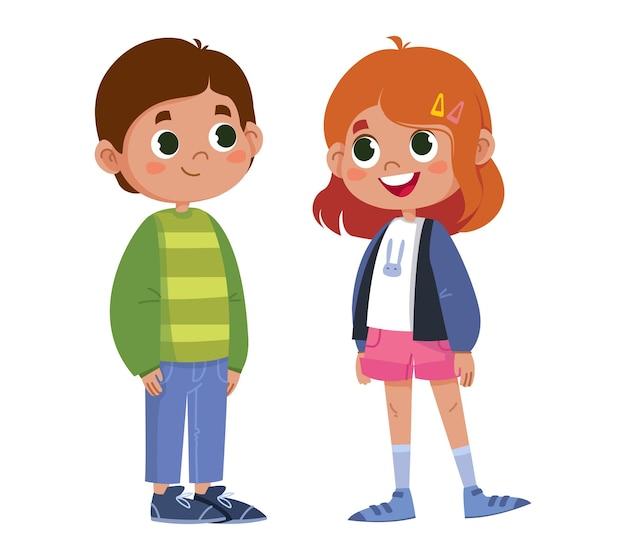 벡터 전체 길이 문자를 말하는 두 학교 어린이 소년과 소녀 아이 그림 재미