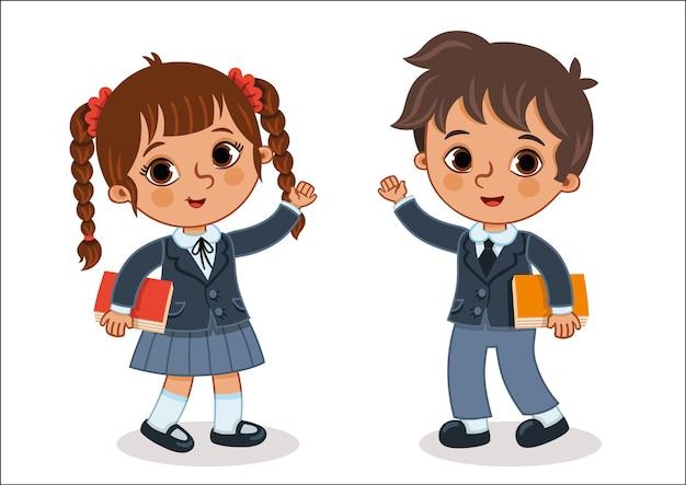 Двое школьников смотрят на нас и размахивают руками векторная иллюстрация