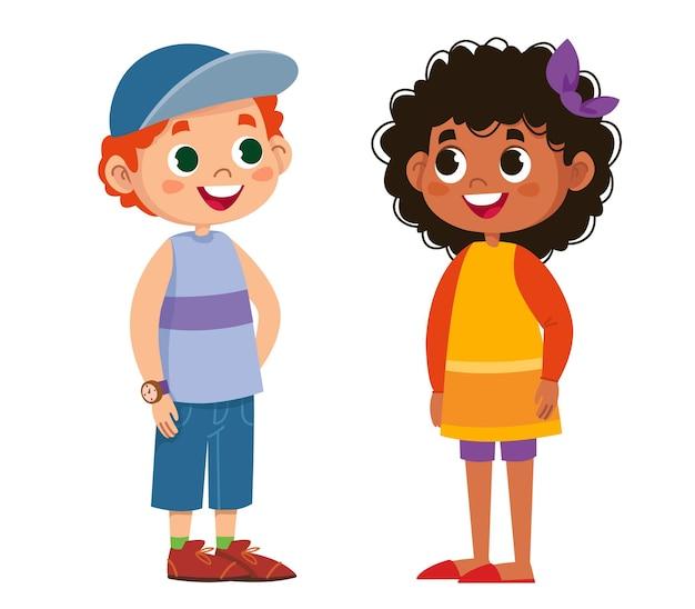 2人の学童がベクトルを話します。子供たちは笑って遊んでいます。黒人女性は美しいです。男子と女子。イラスト面白いクリップアートセットかわいいセット
