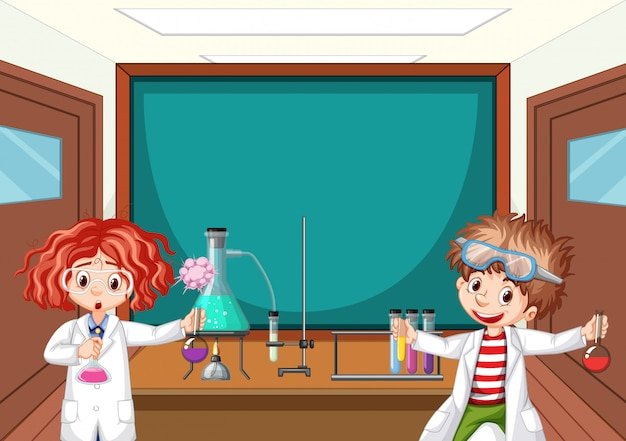 Two science students working in lab at school