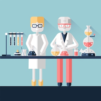 Два ученых-химика в белых халатах в научной лаборатории. мужчина и женщина проводят химический эксперимент с веществами в пробирках и колбах. иллюстрация в стиле.