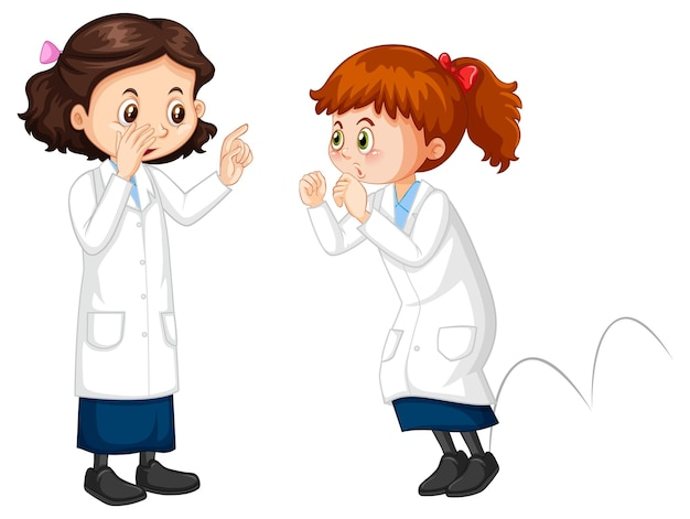 Two scientist girls cartoon character talking each other
