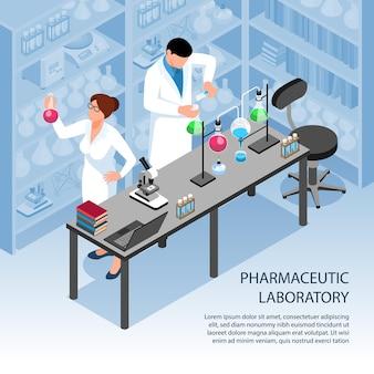 Два ученых проводят исследования в фармацевтической лаборатории 3d изометрии