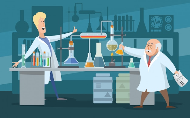 Two scientists in the laboratory, cartoon color illustration. scientists men rejoice at the discovery. there are many test tubes in the laboratory