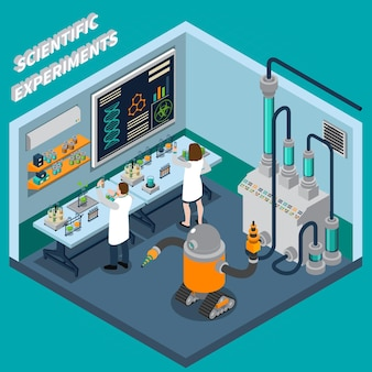 Two scientists working in laboratory with robot and various equipment illustration